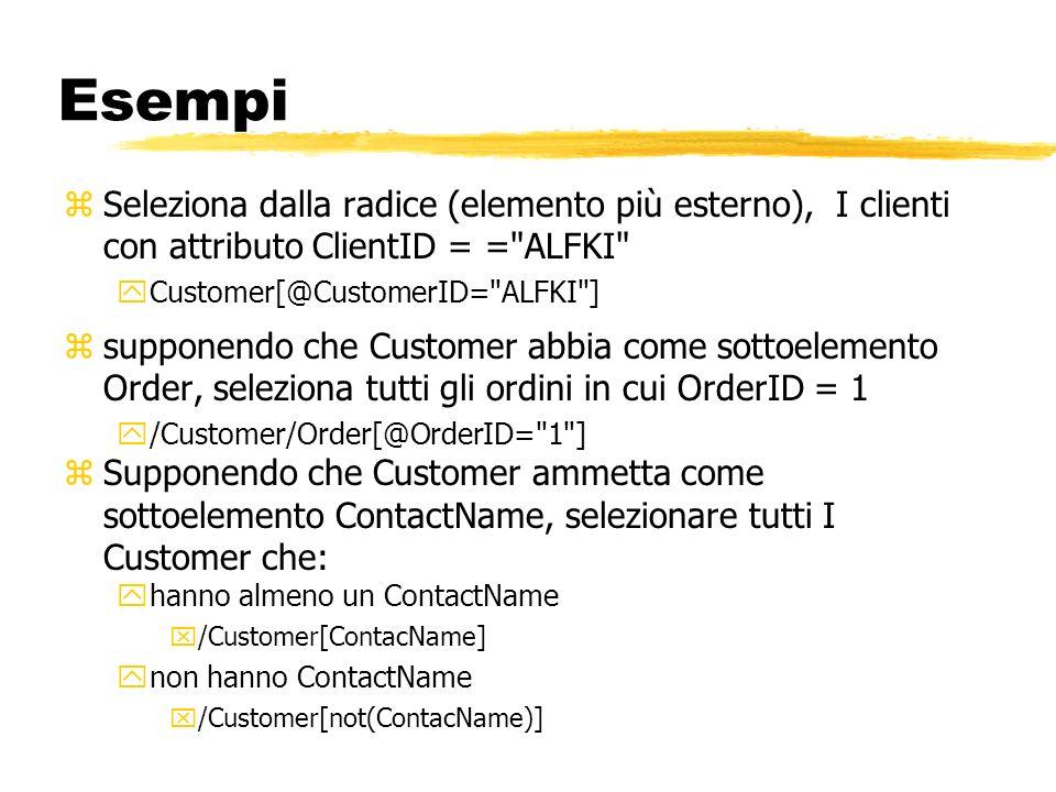 EsempiSeleziona dalla radice (elemento più esterno), I clienti con attributo ClientID = = ALFKI Customer[@CustomerID= ALFKI ]